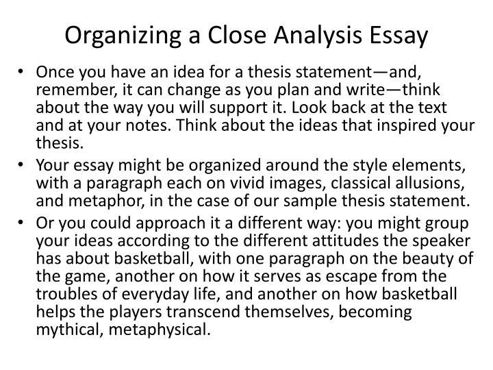 Close analysis essay