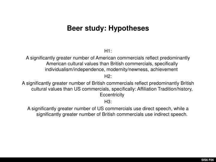 Beer study: Hypotheses