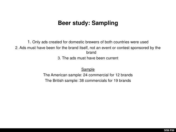 Beer study: Sampling