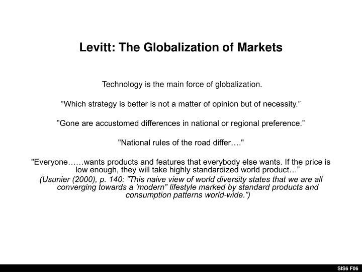 Levitt: The Globalization of Markets