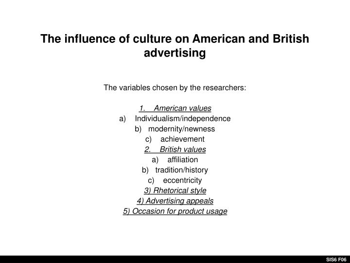 The influence of culture on American and British advertising