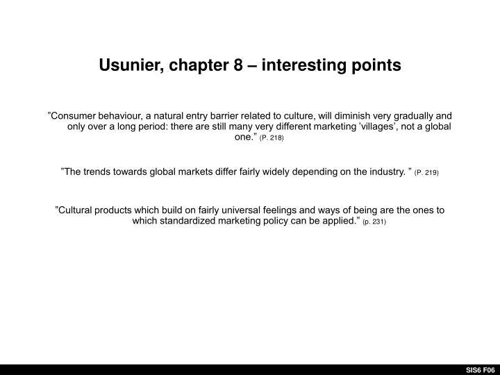 Usunier, chapter 8 – interesting points