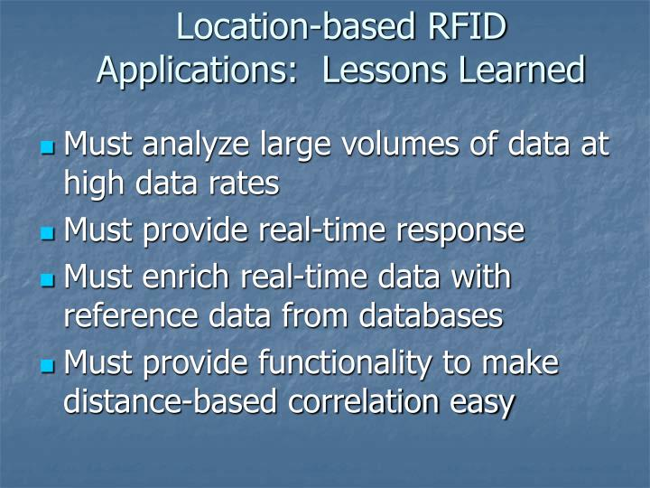 Location-based RFID Applications:  Lessons Learned