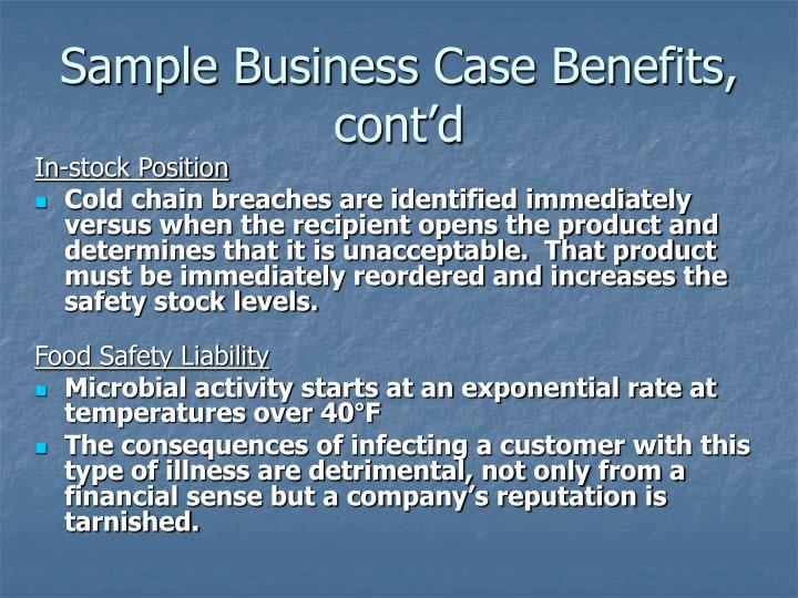 Sample Business Case Benefits, cont'd