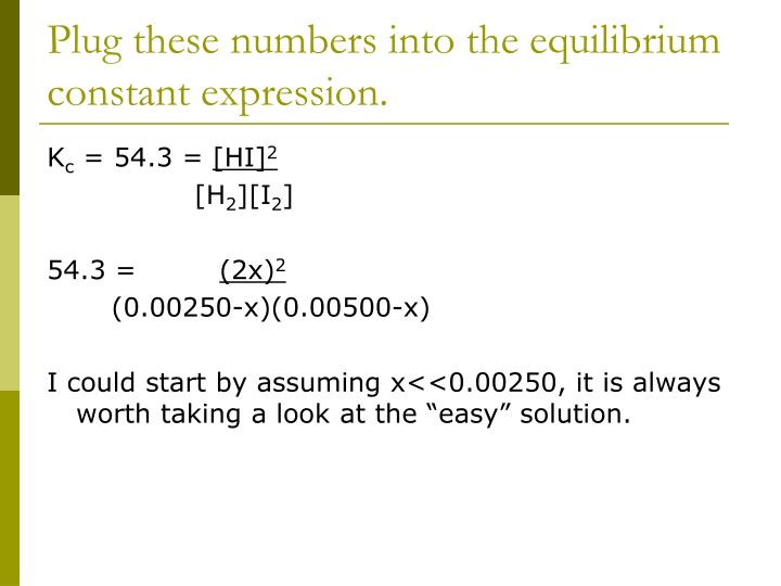 Plug these numbers into the equilibrium constant expression.
