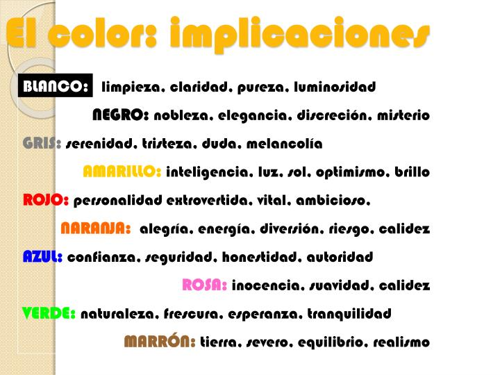 El color: implicaciones