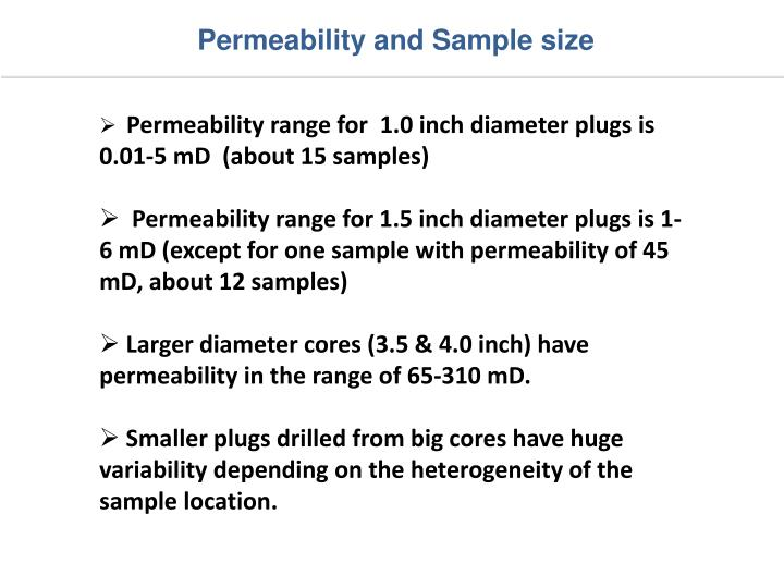 Permeability and Sample size