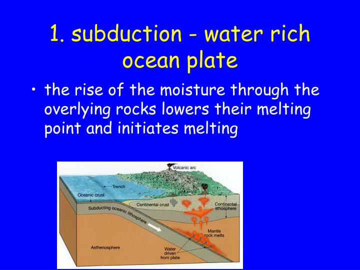 1. subduction - water rich ocean plate