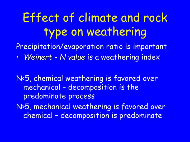 Effect of climate and rock type