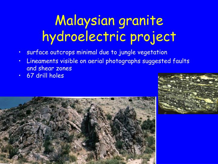 Malaysian granite hydroelectric project
