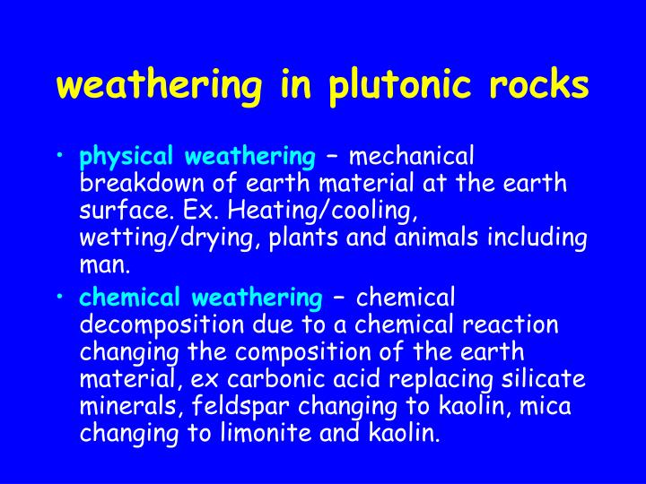weathering in plutonic rocks