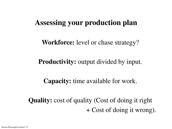 Assessing your production plan