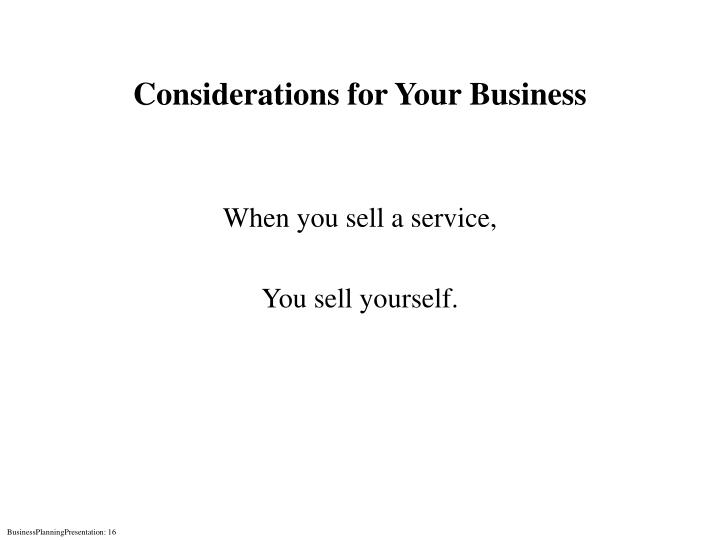 Considerations for Your Business