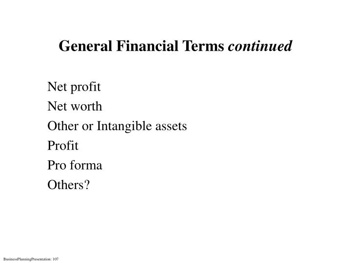 General Financial Terms