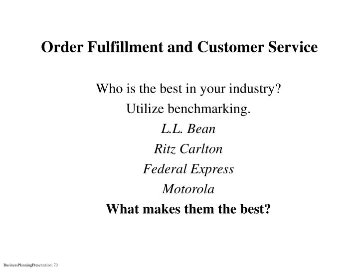 Order Fulfillment and Customer Service