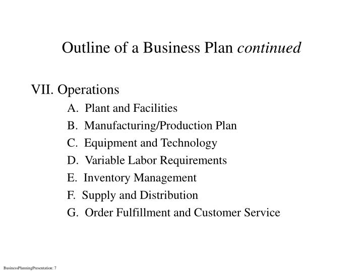 Outline of a Business Plan