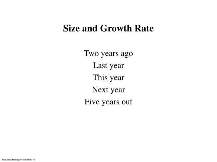 Size and Growth Rate