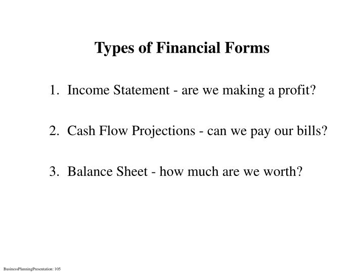 Types of Financial Forms