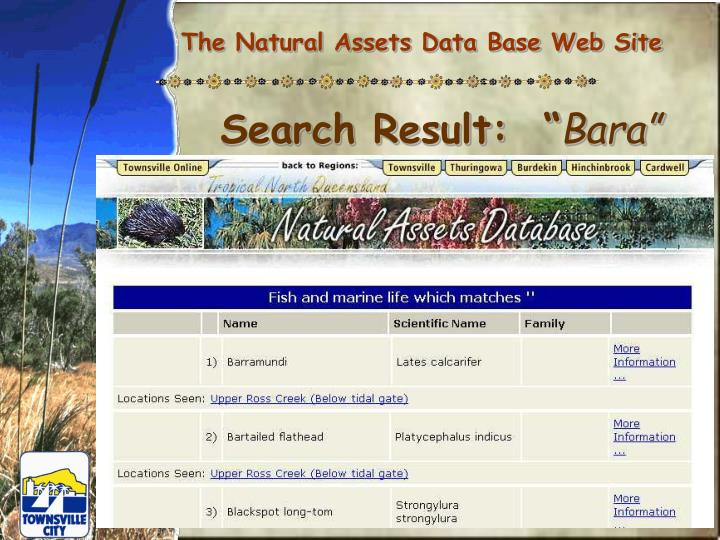 The Natural Assets Data Base Web Site