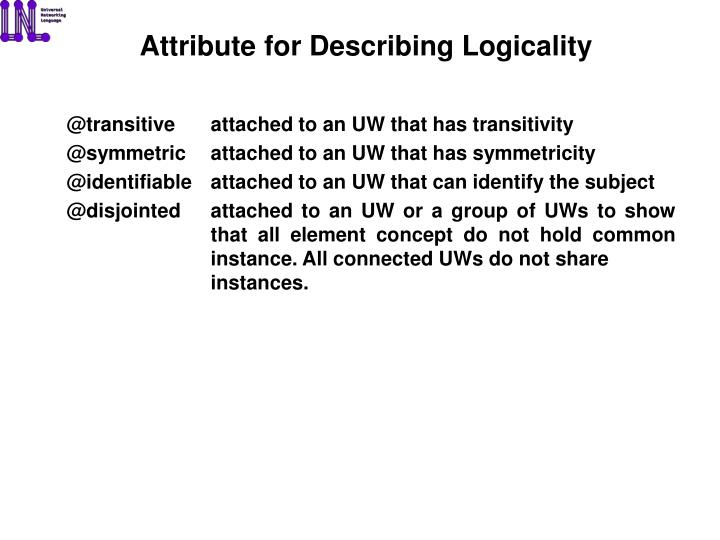 Attribute for Describing Logicality