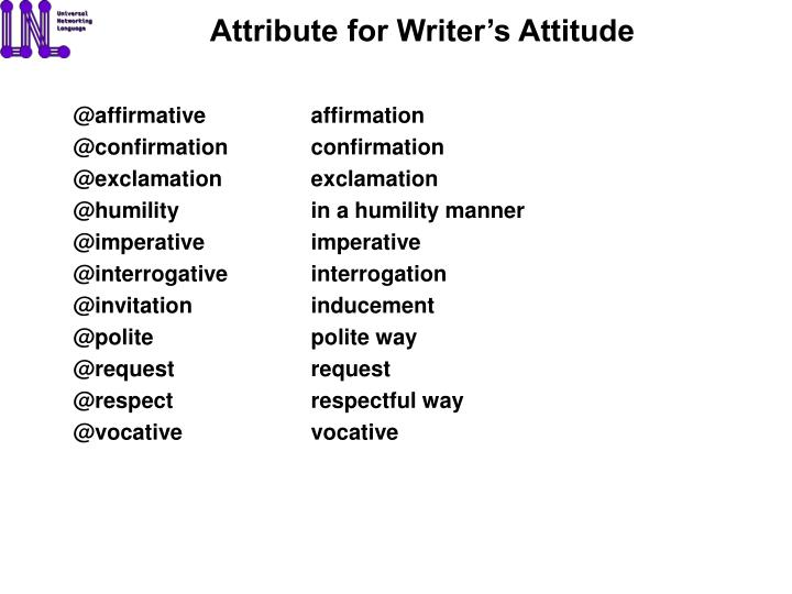 Attribute for Writer's Attitude