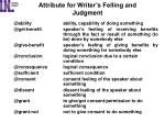 attribute for writer s felling and judgment