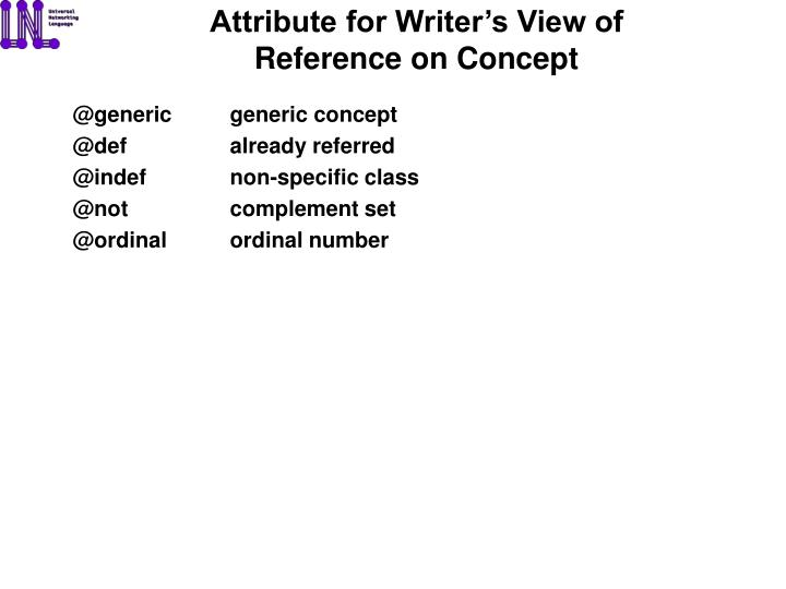 Attribute for Writer's View of Reference on Concept