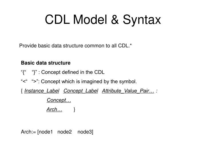 CDL Model & Syntax