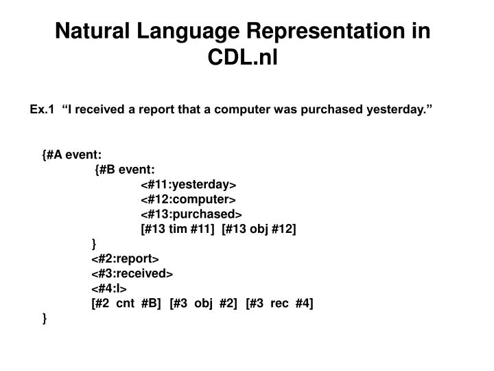 Natural Language Representation in CDL.nl