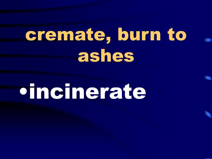 cremate, burn to ashes