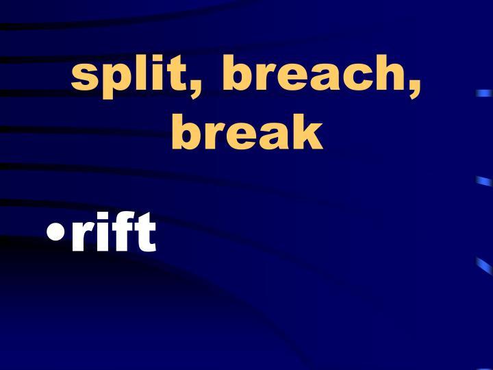 split, breach, break