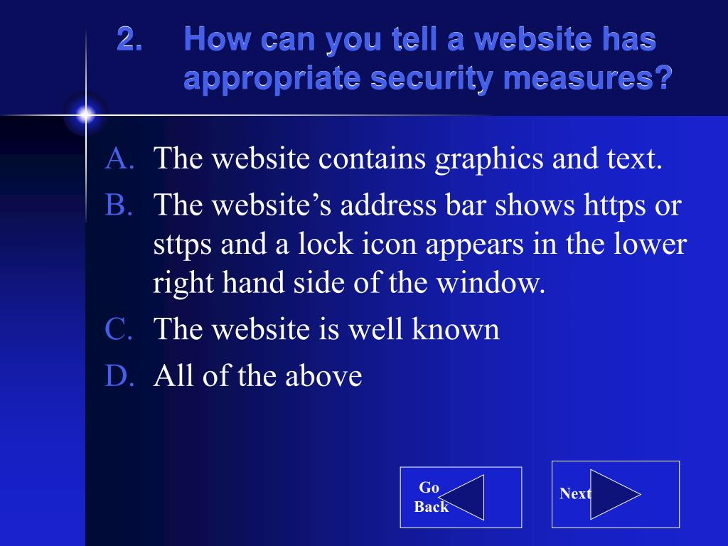 How can you tell a website has appropriate security measures?