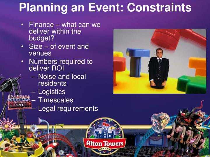 Planning an Event: Constraints