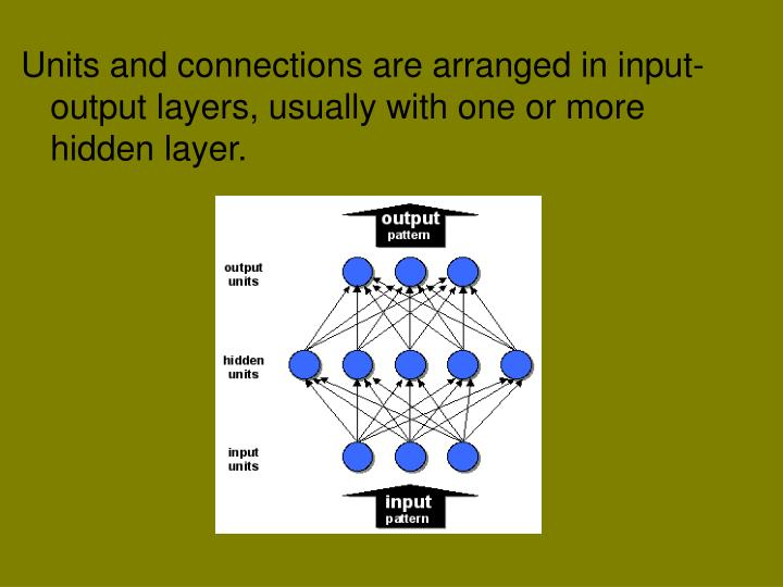 Units and connections are arranged in input-output layers, usually with one or more hidden layer.