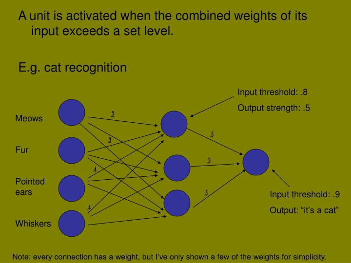 A unit is activated when the combined weights of its input exceeds a set level.