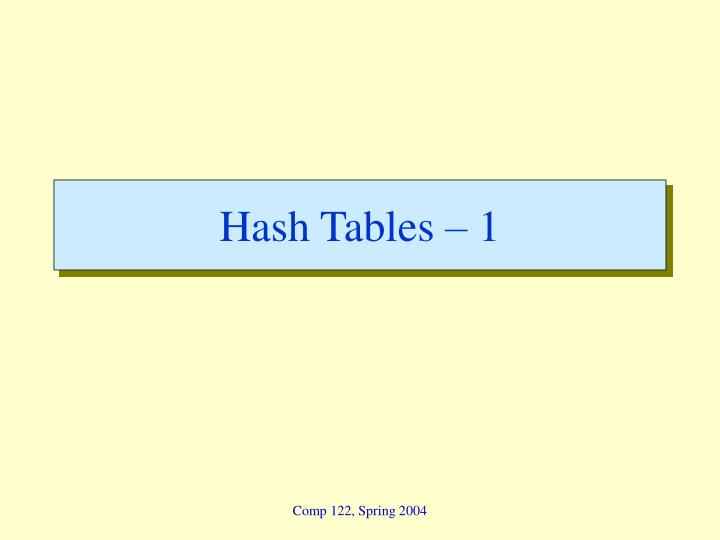 Hash Tables – 1