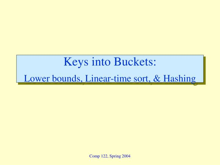 Keys into buckets lower bounds linear time sort hashing