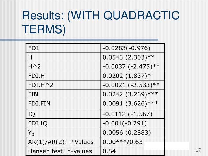 Results: (WITH QUADRACTIC TERMS)