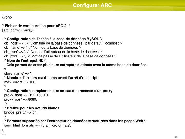Configurer ARC