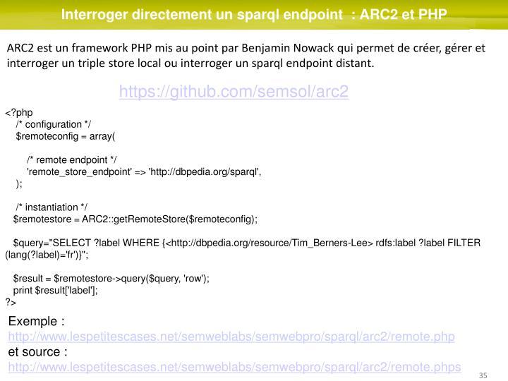Interroger directement un sparql endpoint  : ARC2 et PHP