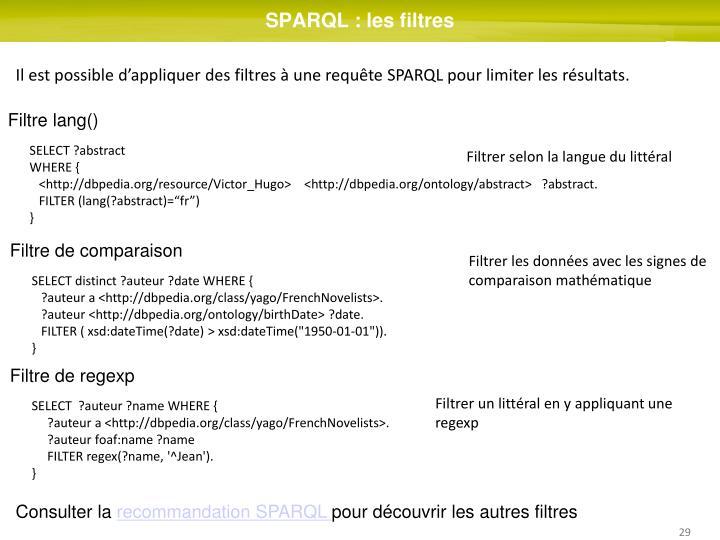 SPARQL : les filtres