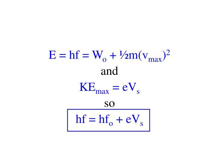 E = hf = W