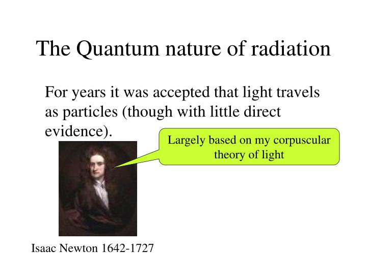 The quantum nature of radiation