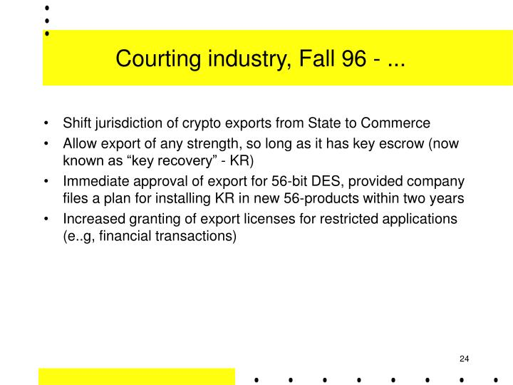 Courting industry, Fall 96 - ...