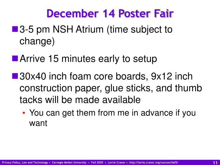 December 14 Poster Fair