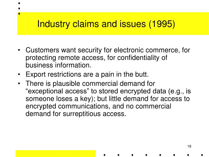 Industry claims and issues (1995)
