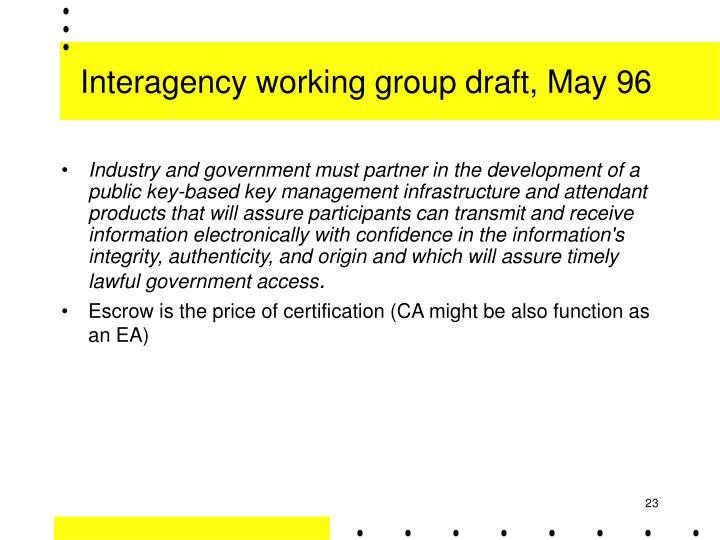 Interagency working group draft, May 96