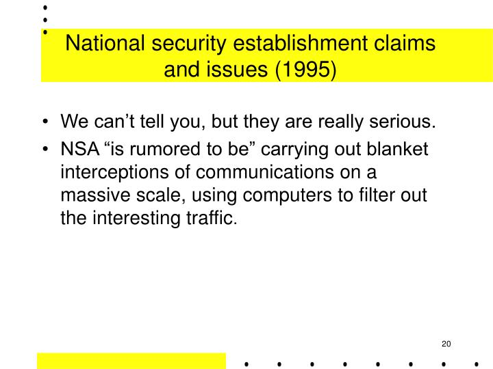 National security establishment claims and issues (1995)