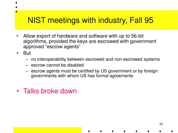 NIST meetings with industry, Fall 95