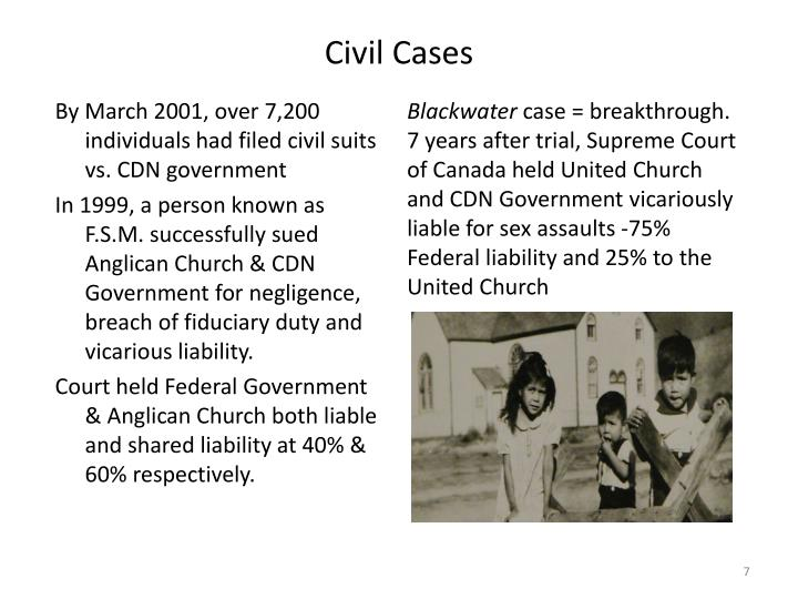By March 2001, over 7,200 individuals had filed civil suits vs. CDN government